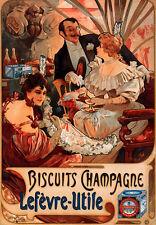 Av19 Art Deco Alphonse Mucha Galletas Champagne Cartel del anuncio de formato A4