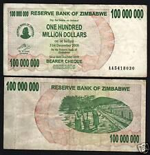 ZIMBABWE 100,000,000 DOLLARS P58 2008 100 MILLION *AA* USED MONEY BILL BANK NOTE