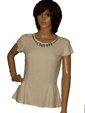 Womens Ladies Short Sleeve Peplum Smart Top Cream Pink Jeweled Necklace Blouse