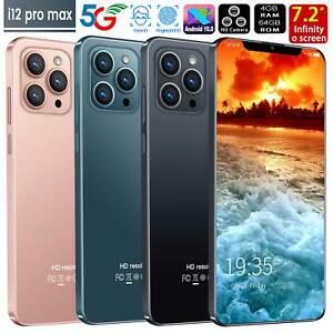 "i12 Pro max 7.2"" Face ID Smart phone Android10 4+64GB 5600mah New 2021 GoodGift"