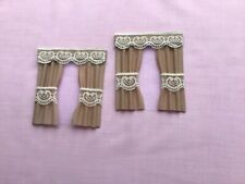 "2 beige dolls house curtains 3.5"" x 4"""