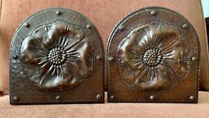 Antique 1910-1915 Arts & Craft Hammered Copper Roycroft Bookends w/Poppy Flower