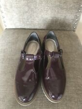 CLARKS SOMERSET PATENT BURGUNDY T BAR SHOES 4.5