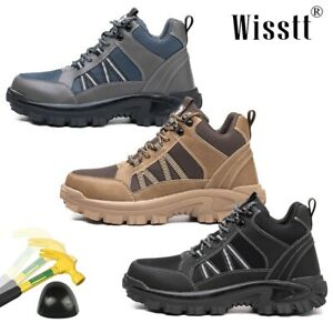 Wisstt Men Steel Toe Sports Leather Labor Work Boots Indestructible Safety Shoes
