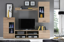 Living room furniture set cabinet TV unit shelves LED light sonoma oak