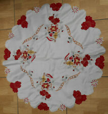 """New embroidered and appliqued circular Xmas tablecloth 33"""" in diameter"""