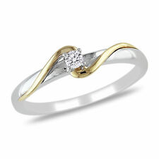 Amour Diamond Bypass Promise Ring in 2-Tone White and Yellow 10k Gold