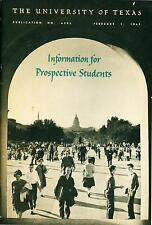 Booklet Information for Prospective Students The University Of Texas Austin 1962