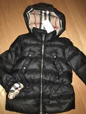 bca4f36d2 NEW $375 Burberry Girls Bronwyn Hooded Down Puffer Jacket Black, Size  14Y/164cm