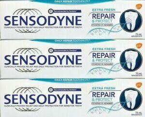 3X Sensodyne Repair & Protect NOVAMIN Daily Repair Extra Fresh Toothpaste 75ml