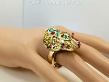 Crystal Elephant Multi Color Ring - Gold Tone