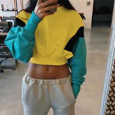 Womens Hoodie Sweatshirt Ladies Hooded Plain Crop Tops Jumper Pillover Sweater