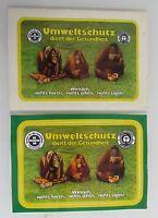 2 Postkarten mit Affen Affe, Aufkleber-Karten für den Umweltschutz gebraucht