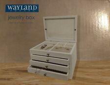 Wayland Square Wooden Jewerly Box Velvet Lined Glass Lid Multiple Compartments