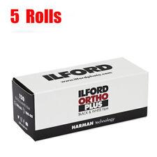 5 Rolls ILFORD Ortho plus 120 ISO80 645 6x6 6x9 Black&White Film Fresh 09/2022