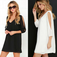 Fashion Women Summer Casual Long Sleeve Evening Party Chiffon Short Mini Dress