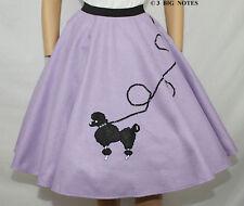 "4-Pcs LAVENDER FELT 50's Poodle Skirt Adult Sz XL/3X - Waist 40""-48"" - L 25"""