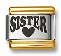 Italian Charm Bracelet Link Laser Sister Heart 9mm Gold Trim Stainless Steel