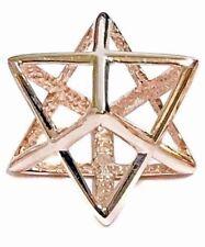 "LARGE 1"" Rose Gold 925 Sterling Silver Merkaba Merkava Kabbalah Pendant Merkavah"