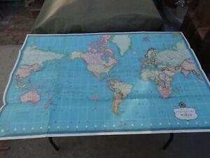 "Vintage 1950's Hammond's International Map of the World 33"" x 50"" Orig. Envelope"