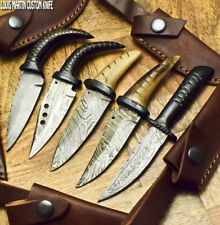LOUIS MARTIN RARE CUSTOM HANDMADE FIXED BLADE DAMASCUS A LOT OF 5 SKINNER KNIFE