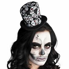Adult Day of the Dead Glitter Sugar Skull Top Hat Headband Halloween Accessory