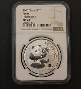 2000 China Panda Frosted Ring 10 Yuan NGC MS70 Silver