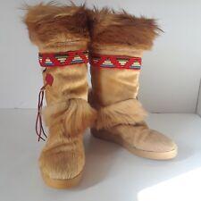 TECNICA Tribal GOAT FUR Snow Boots Wool Lined Italy Mid Calf Shoes Skandia Sz 8