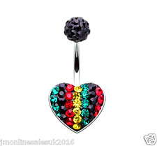 Fashion Heart Shaped MultiCrystal Paved Surgical Steel Navel Belly Ring Piercing
