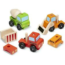 Melissa & Doug Stacking Construction Vehicles Toy Set, Sturdy Wood, 15 Piece, 3+
