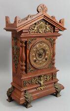 Antique Victorian Ansonia Walnut & Gold Gilt Brass Ormolu Mantle Clock