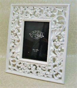 Photo Picture Frame 4 x 6 White Gloss Swirl open style design freestanding Cut o