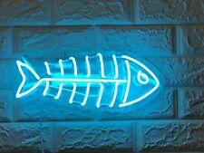 "New Fish Bone Neon Light Sign 14"" Lamp Beer Bar Acrylic Real Glass Handmade"