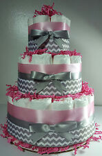 3 Tier Diaper Cake -  Pink Silver/White Chevron- Girl Baby Shower Centerpiece