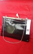 NWT Stella & Max Clutch Slim Framed Drop-in Chain Handle Patent Black $48