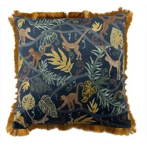 Monkey Forest Midnight Blue Cushion Covers by Riva Paoletti
