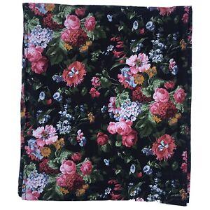 Vintage Ralph Lauren COSSETTE ISADORA Flat Sheet QUEEN Black Floral Country Nice