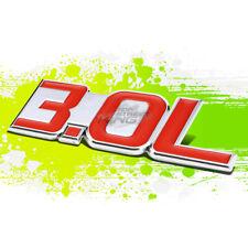 "SILVER ""3.0L""RED LETTER LOGO TRIM BADGE METAL EMBLEM DECAL AUTO EXTERIOR STICKER"