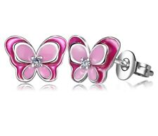 Women 3D Sterling Silver Ear Stud Earrings Pink Butterfly Enamel Animal for Girl
