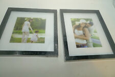 """New Lot 2 Black Wood Picture Frames 9"""" x 11"""" and 10"""" by 10"""" White Matting"""