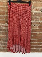 NEXT WOMENS RED GINGHAM MIDI SKIRT WITH FRILLS AND TIE SIZE: 8 BNWT RRP £28.00