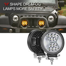 "Round LED Work Lights Bar 2x 4""Inch Spot Flood Driving Pods Offroad Combo Truck"