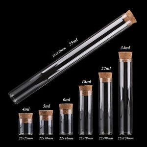 Diameter 22mm 4ml-55ml Glass Test Tube with Cork Stopper 7 sizes U-pick