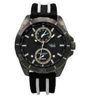 Mens Fashion Watch Milano Mc46133 Black, White Silicone Band Faux Chronograph