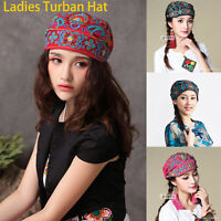 Ladies Ethnic Turban Hat Cap Head Beanie Embroidered Florals  Original Print Hat