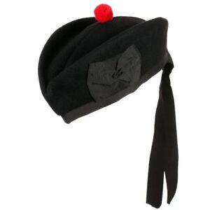 HW Scottish Glengarry Plain Hat Black Pure Wool/Piper Cap Red Pompom on Top