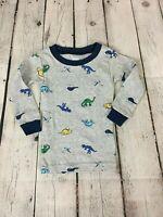 Carters Baby Boy's Long Sleeve Dinosaur T-Shirt, Gray/Blue, Size 9 Months