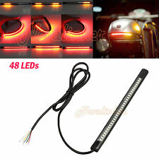 48LED Red/Amber 3528 SMD DC 12V Signal Brake Motorcycle Rear Tail Light Strip AU