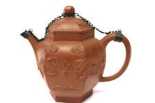 Antike Yixing Teekanne Böttger Steinzeug mit Silberkette und Drachen wohl 18.Jhd