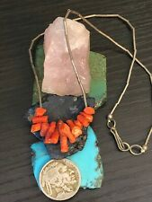"""Silver bead Necklace 7 G 16 """" vintage Native American Red Coral Liquid sterling"""